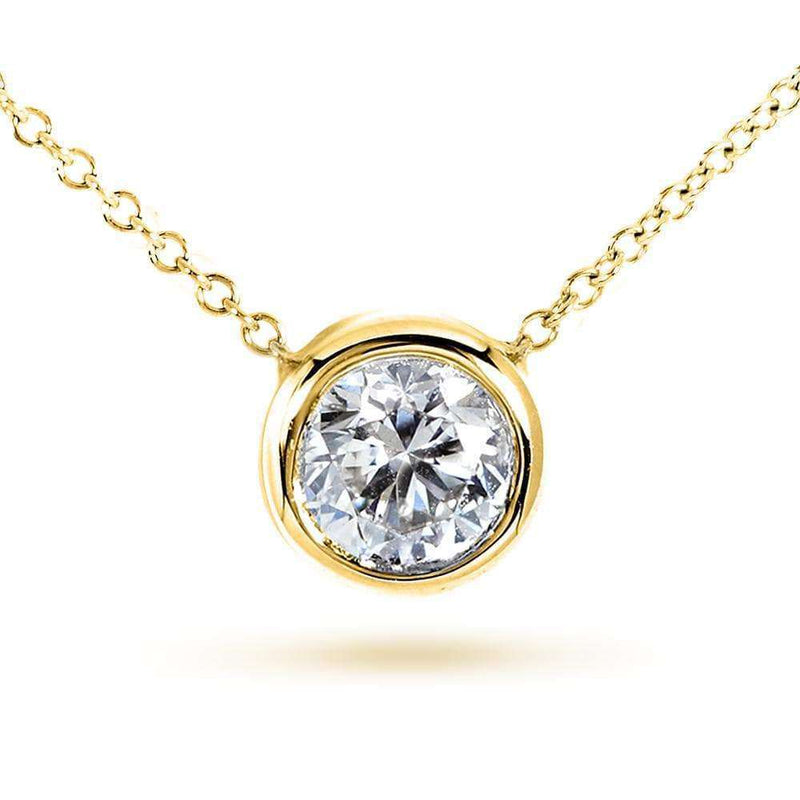 "Kobelli Round Bezel Moissanite Solitaire Necklace 14K Gold 16"" Chain (7.5mm, 1 1/2ct DEW) MZ6698R-150_YG"
