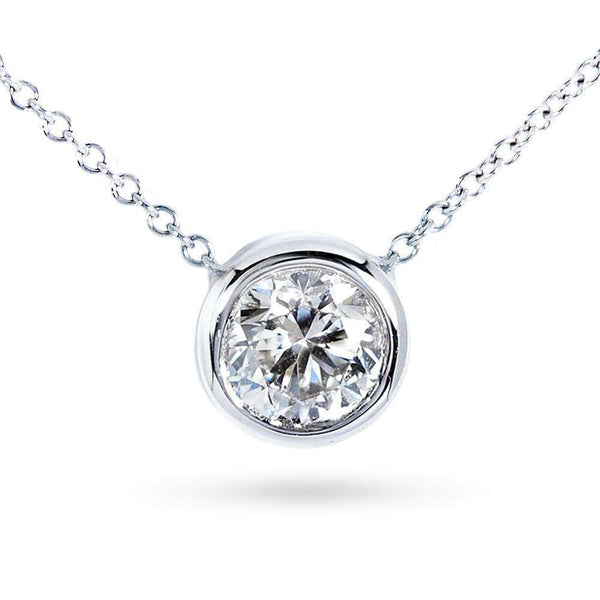 "Kobelli Round Bezel Moissanite Solitaire Necklace 14K Gold 16"" Chain (7.5mm, 1 1/2ct DEW) MZ6698R-150_WG"