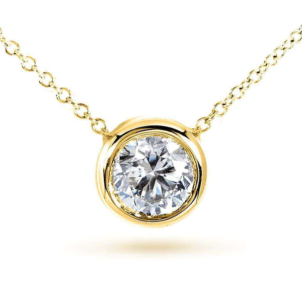 "Kobelli Round Bezel Moissanite Solitaire Necklace 14K Gold 16"" Chain (8mm 2ct DEW) MZ6698R-200_YG"