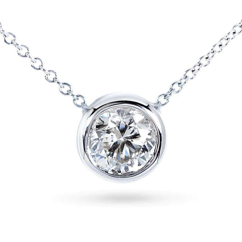 "Kobelli Round Bezel Moissanite Solitaire Necklace 14K Gold 16"" Chain (8mm 2ct DEW) MZ6698R-200_WG"