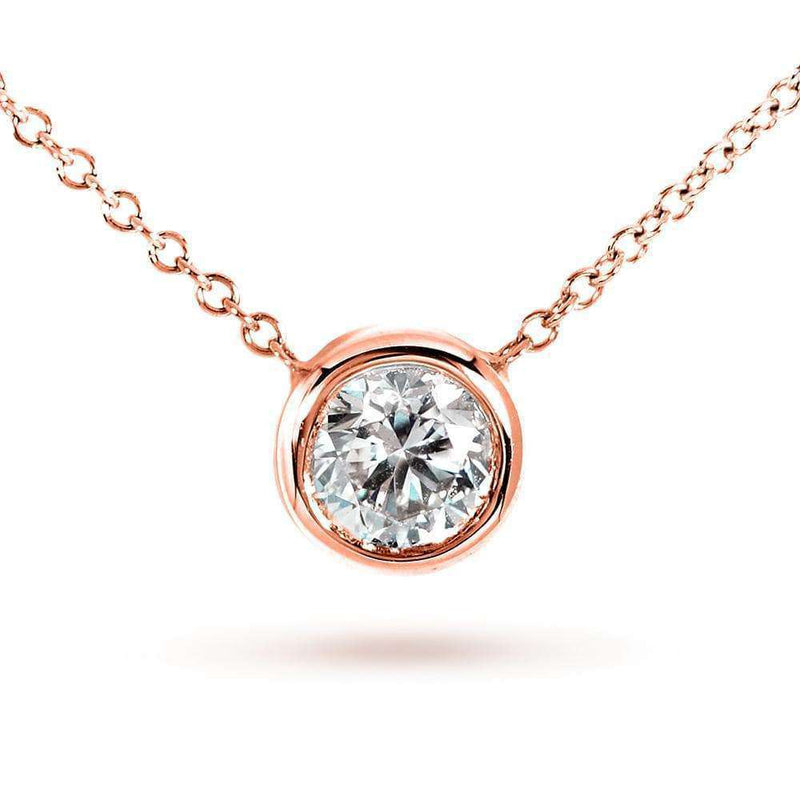 Kobelli Round Moissanite Bezel Necklace 1/2 Carat 14k Rose Gold MZ6698R-50-R
