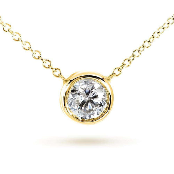 "Kobelli Round Bezel Moissanite Solitaire Necklace 14K Gold 16"" Chain (5mm 1/2ct DEW) MZ6698R-50_YG"