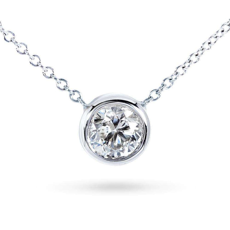 "Kobelli Round Bezel Moissanite Solitaire Necklace 14K Gold 16"" Chain (5mm 1/2ct DEW), FG/VS"