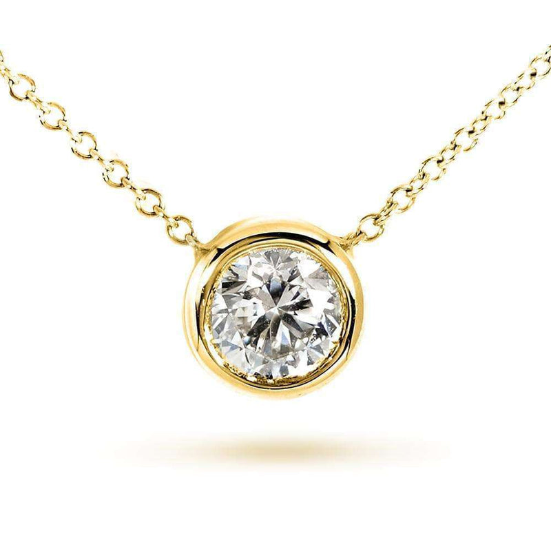"Kobelli Round Bezel Moissanite Solitaire Necklace 14K Gold 16"" Chain (6mm 3/4ct DEW)"