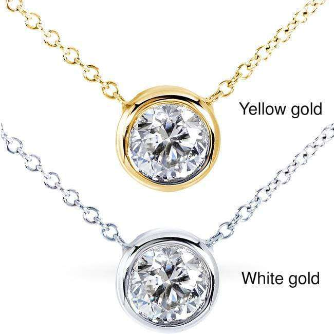 "Kobelli Round Bezel Moissanite Solitaire Necklace 14K Gold 16"" Chain (6mm 3/4ct DEW), FG/VS"