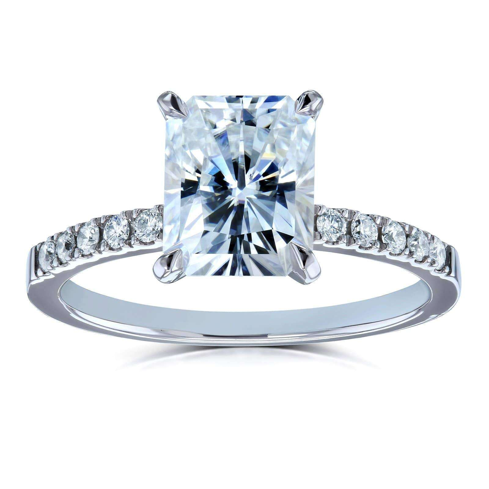 Engagement Rings Vs Wedding Bands: Radiant-cut Moissanite And Diamond Engagement Ring 3 CTW