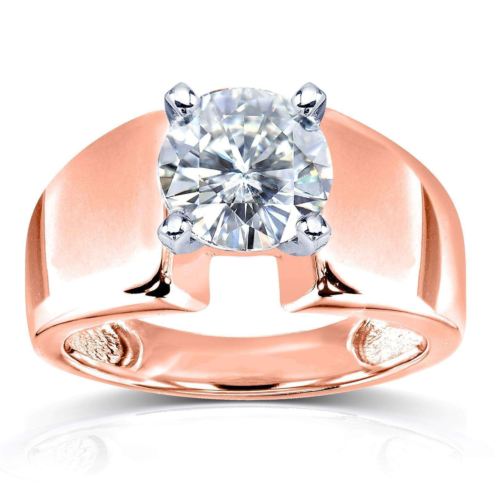 Discounts Wide Shank Round Brilliant Moissanite Solitaire Engagement Ring 1 9/10 Carat 14k Rose Gold (FG/VS) - 10.5
