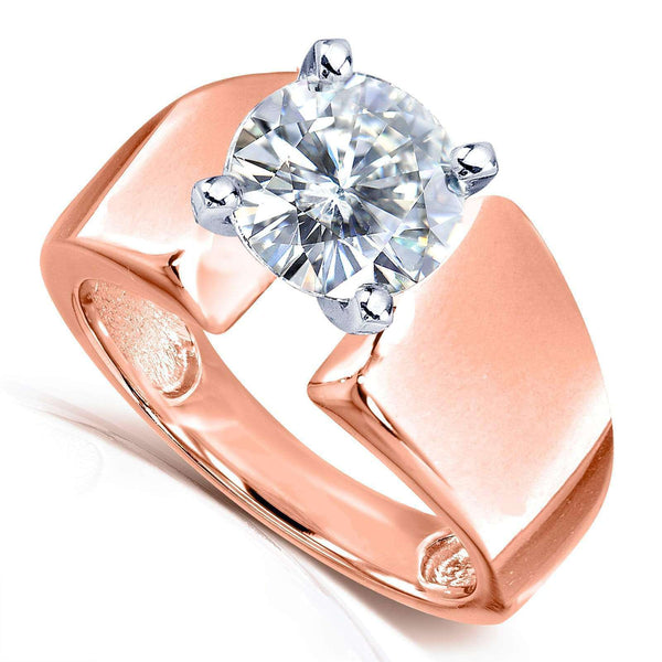 Kobelli Wide Shank Round Brilliant Moissanite Solitaire Engagement Ring 1 9/10 Carat 14k Rose Gold (FG/VS)