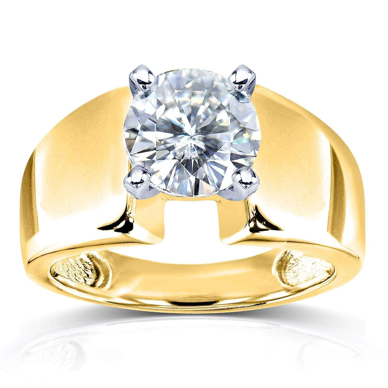 Reviews Wide Shank Round Brilliant Moissanite Solitaire Engagement Ring 1 9/10 Carat 14k Yellow Gold (FG/VS) - 9.5