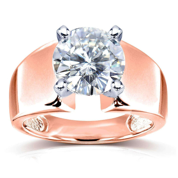 Kobelli Wide Shank Round Brilliant Moissanite Solitaire Engagement Ring 3 Carat 14k Rose Gold (FG/VS)