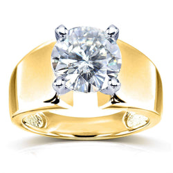 Kobelli Wide Shank Round Brilliant Moissanite Solitaire Engagement Ring 3 Carat 14k Yellow Gold (FG/VS)