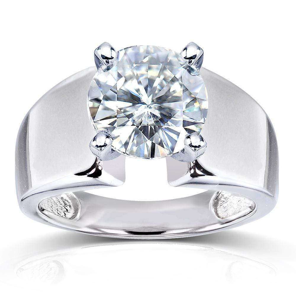 Round F G Moissanite Extra Wide Solitaire Engagement Ring