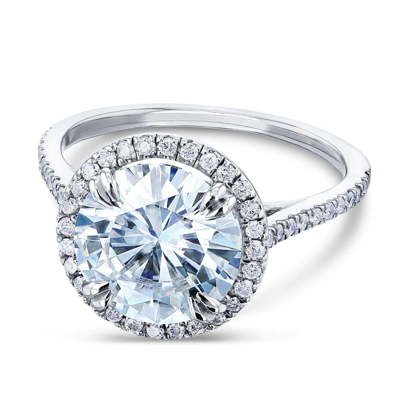 Kobelli Round-cut Moissanite Engagement Ring with Diamond 3 1/3 CTW 14k White Gold (9.5mm)