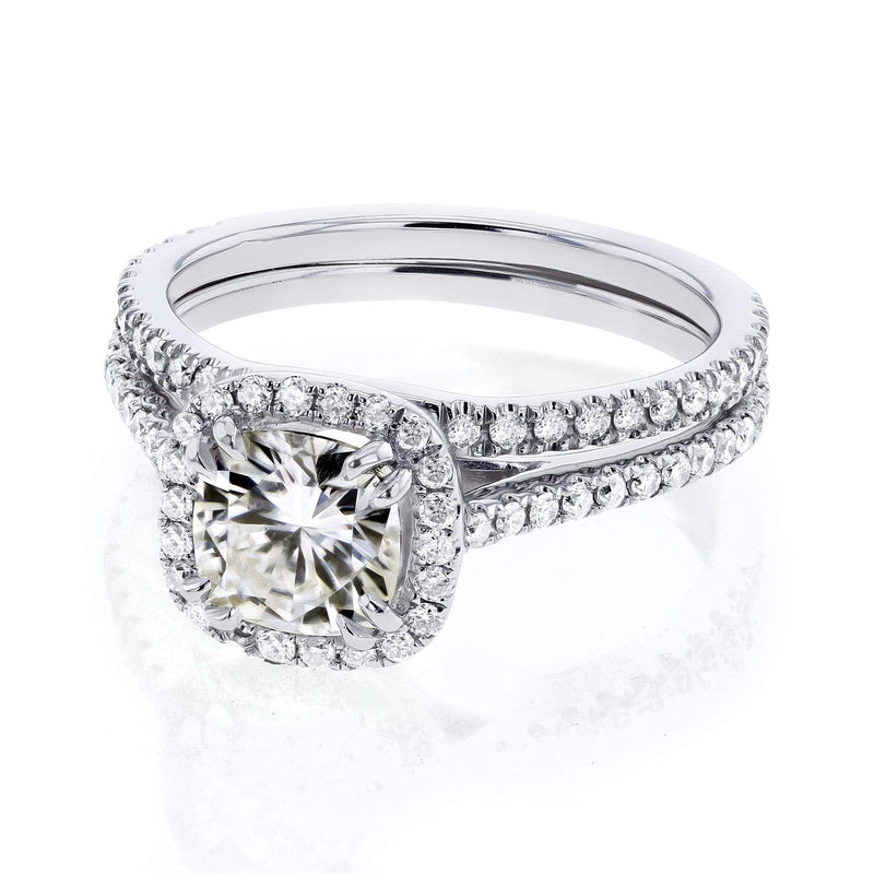 Kobelli Cushion Near Colorless (G-H) Moissanite and Diamond 1-1/2ct TGW Halo Bridal Set in 14k White Gold