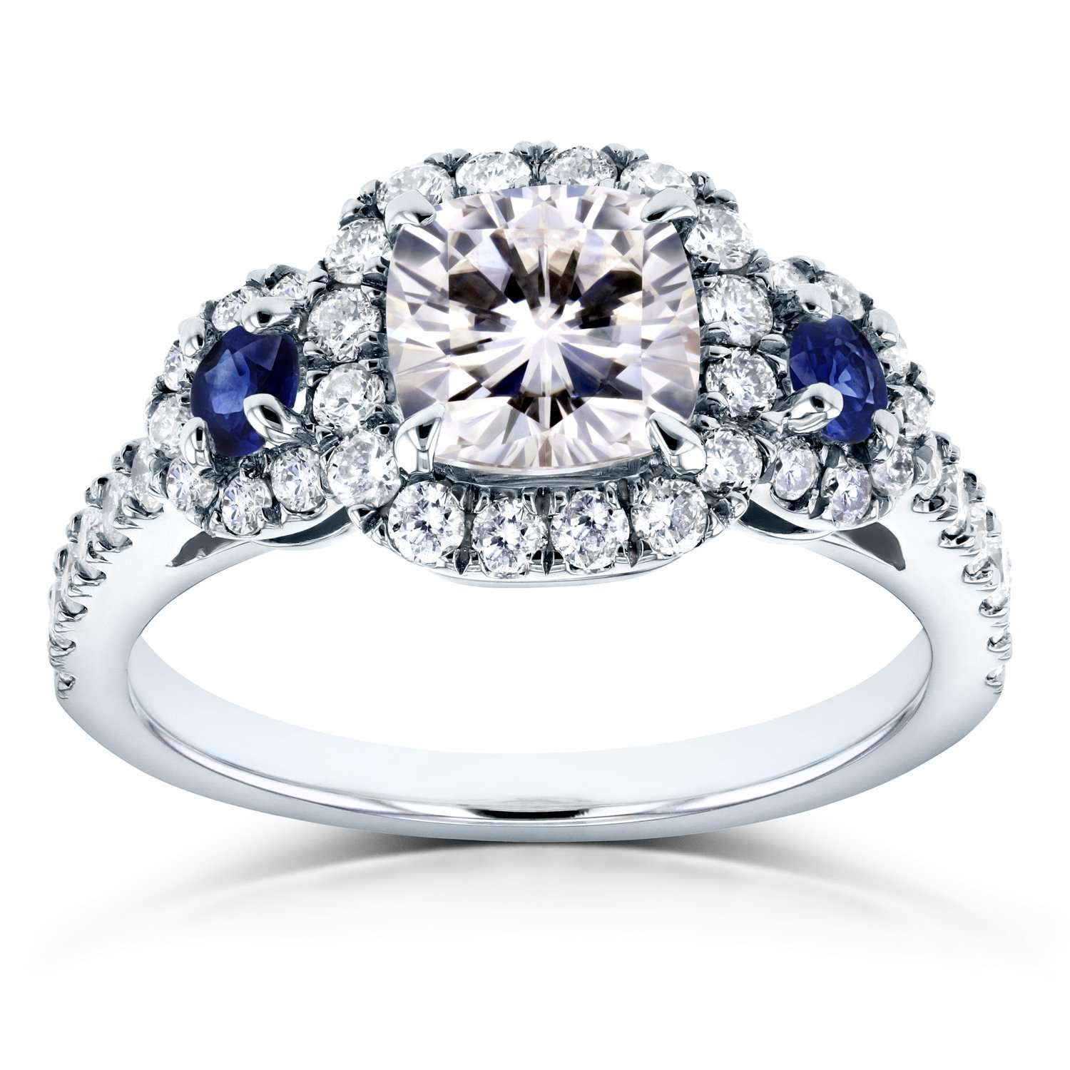 Compare Cushion Moissanite (FG) Sapphire and Diamond Engagement Ring 1 7/8 CTW 14k White Gold - 4