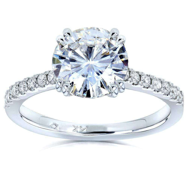 Kobelli Moissanite and Lab Grown Diamond Engagement Ring 2 1/10 CTW 14k White Gold (FG/VS, DEF/VS)