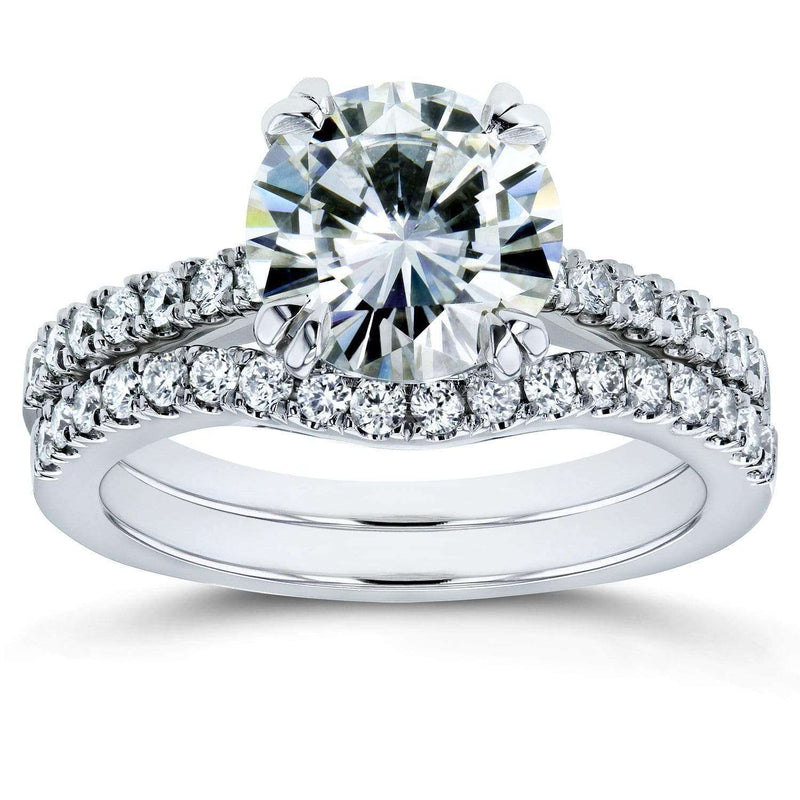Kobelli Moissanite and Lab Grown Diamond Bridal Rings Set 2 1/3 CTW 14k White Gold (FG/VS, DEF/VS)