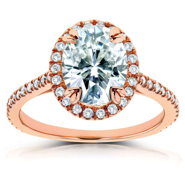 Kobelli Oval Moissanite and Diamond Halo Engagement Ring 2 1/3 CTW 14k Rose Gold (FG/VS, GH/I)
