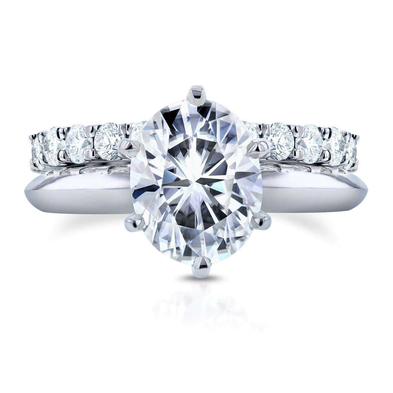 Kobelli Oval Moissanite Solitaire with Diamond Eternity Band 3 1/10 CTW 14k White Gold (FG/VS, GH/I)