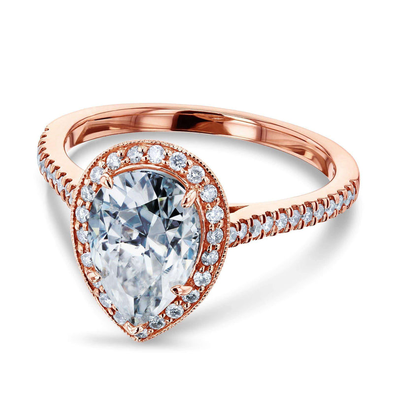 Kobelli Near-Colorless (F-G) Pear Shape Moissanite and Diamond Halo Engagement Ring 2 1/2 CTW in 14k Rose Gold