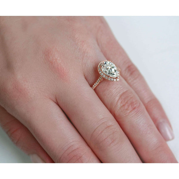 Kobelli Pear Shape Forever One Moissanite Halo Ring
