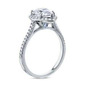Near-Colorless (F-G) Pear Shape Moissanite and Aquamarine Halo Engagement Ring in 14k White Gold