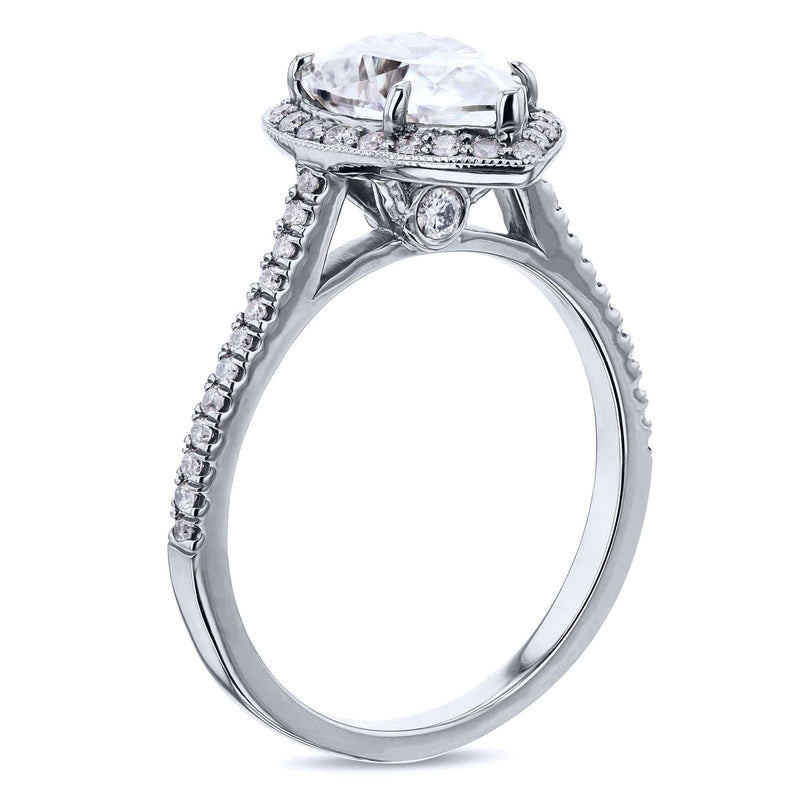 Kobelli Pear Shape Moissanite Engagement Ring with Halo Diamond 2 1/2 CTW 14k White Gold