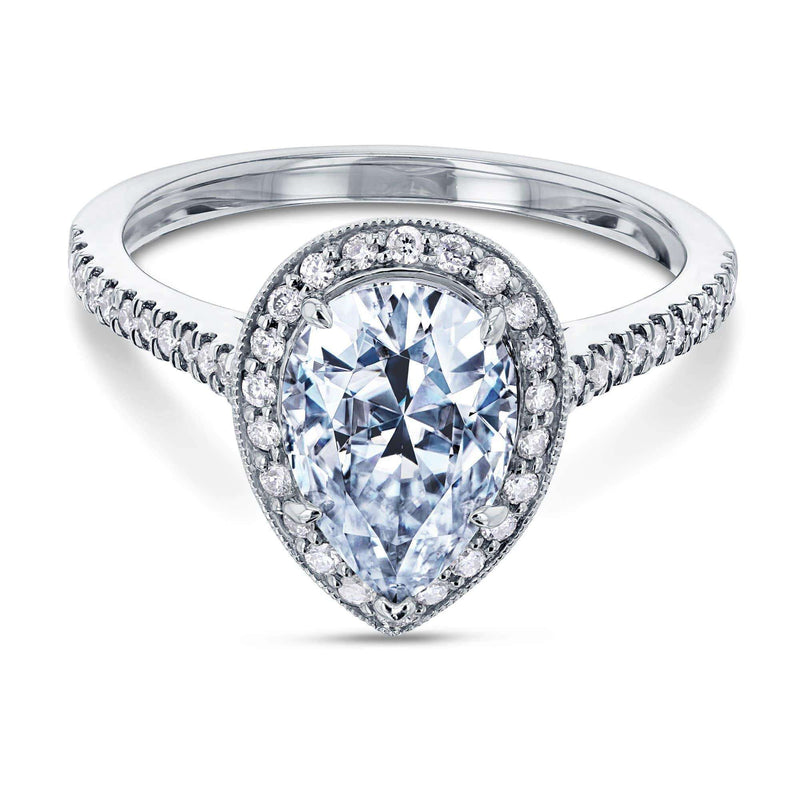 Kobelli Near-Colorless (F-G) Pear Shape Moissanite and Diamond Halo Engagement Ring 2 1/2 CTW in 14k White Gold