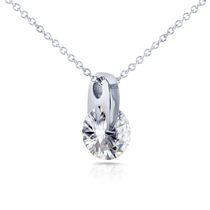 Kobelli Floating Round Moissanite Solitaire Necklace 1 CTW 14k White Gold MZ62188