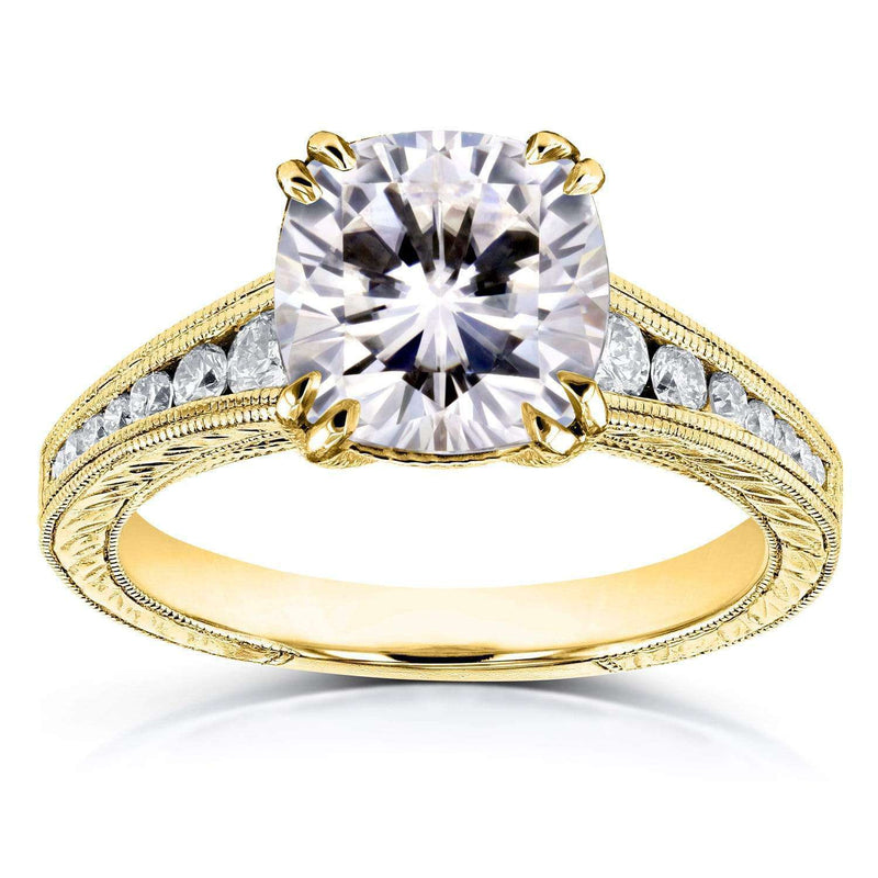 Kobelli Moissanite (FG) and Diamond Vintage Channel Ring  2 1/4ct TW 14k Yellow Gold