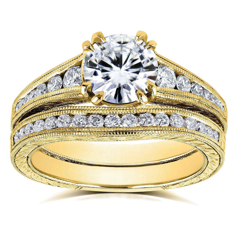 Kobelli F-G Moissanite Channel Diamond Bridal Set 14K Yellow Gold (1 1/2 CTW)