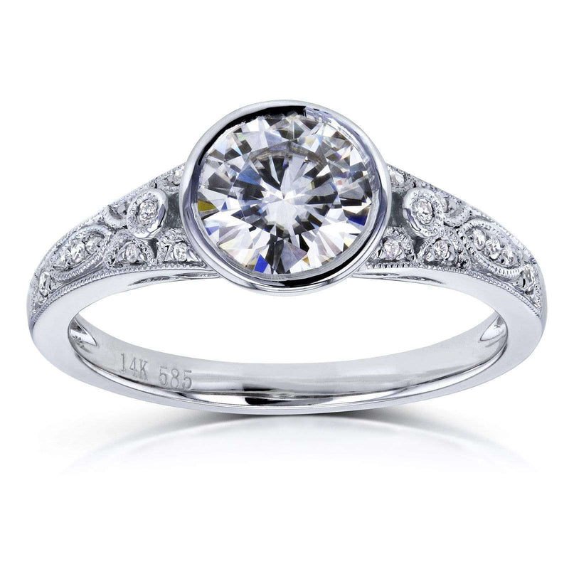 Kobelli Round Forever One DEF Moissanite and Diamond Bezel Vintage Engagement Ring 1 CTW in 14k White Gold
