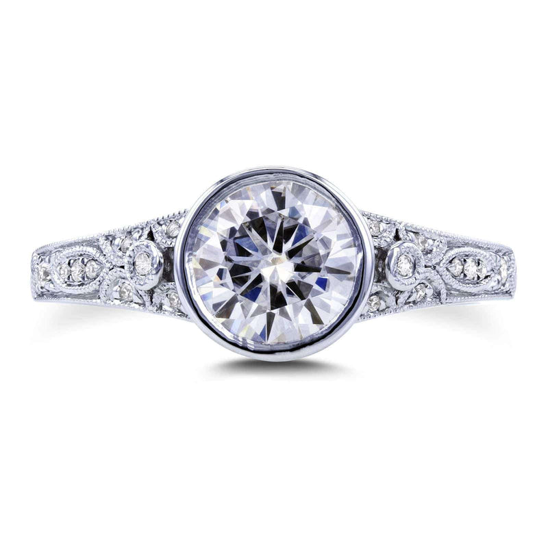 Kobelli Round F-G Moissanite and Diamond Bezel Vintage Engagement Ring 1 CTW 14k White Gold