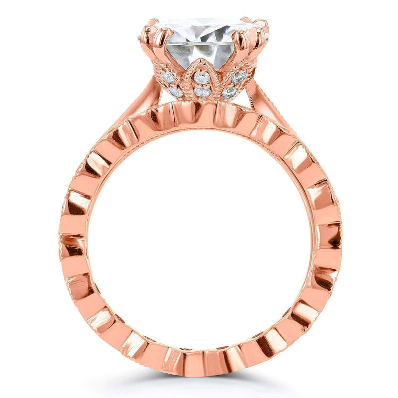 Kobelli Moissanite (FG) and Diamond Bridal Set 3 3/5ct TCW in 14k Rose Gold