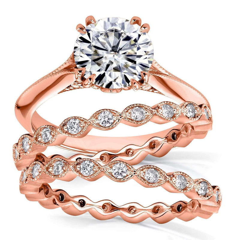 Kobelli Moissanite (FG) and Diamond Bridal Set 2 1/4ct TCW in 14k Rose Gold
