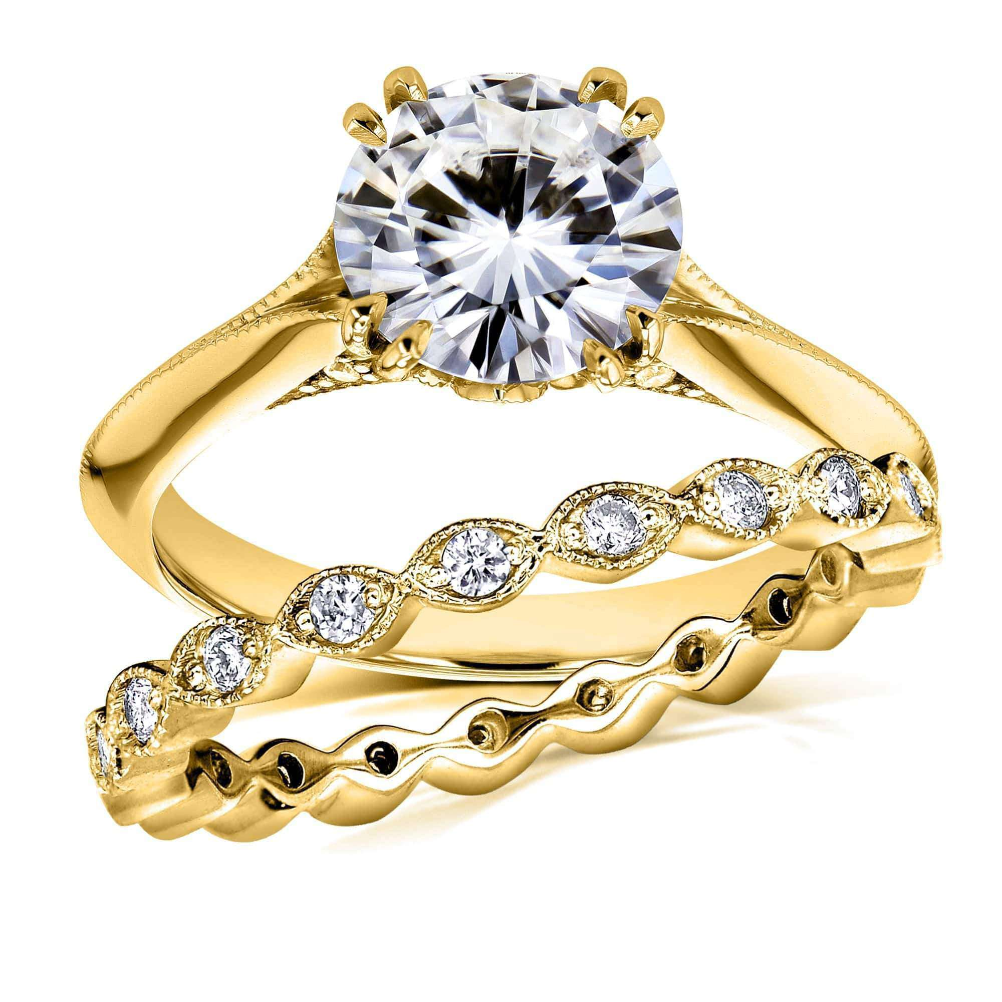 Discounts Moissanite and Diamond Bridal Set Subtle Floral Motif 1 7/8 CTW 14k Yellow Gold (FG/VS GH/I) - 4