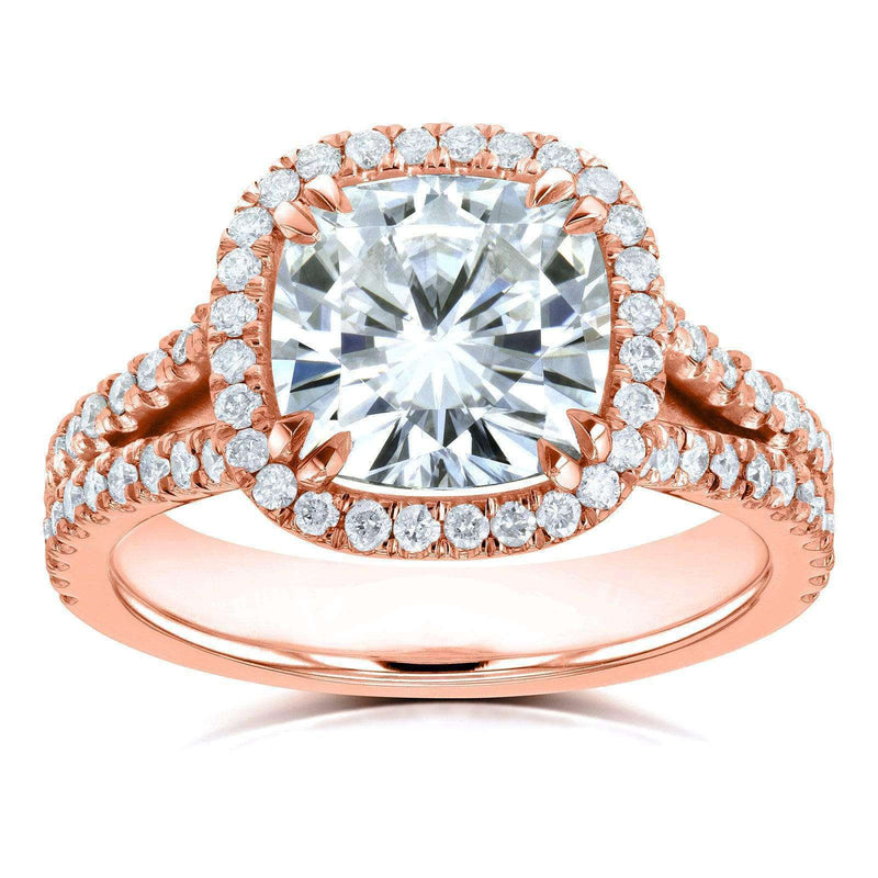 Kobelli Cushion F-G Moissanite with Diamond Split Shank Halo Engagement Ring 3 1/3 CTW 14k Rose Gold