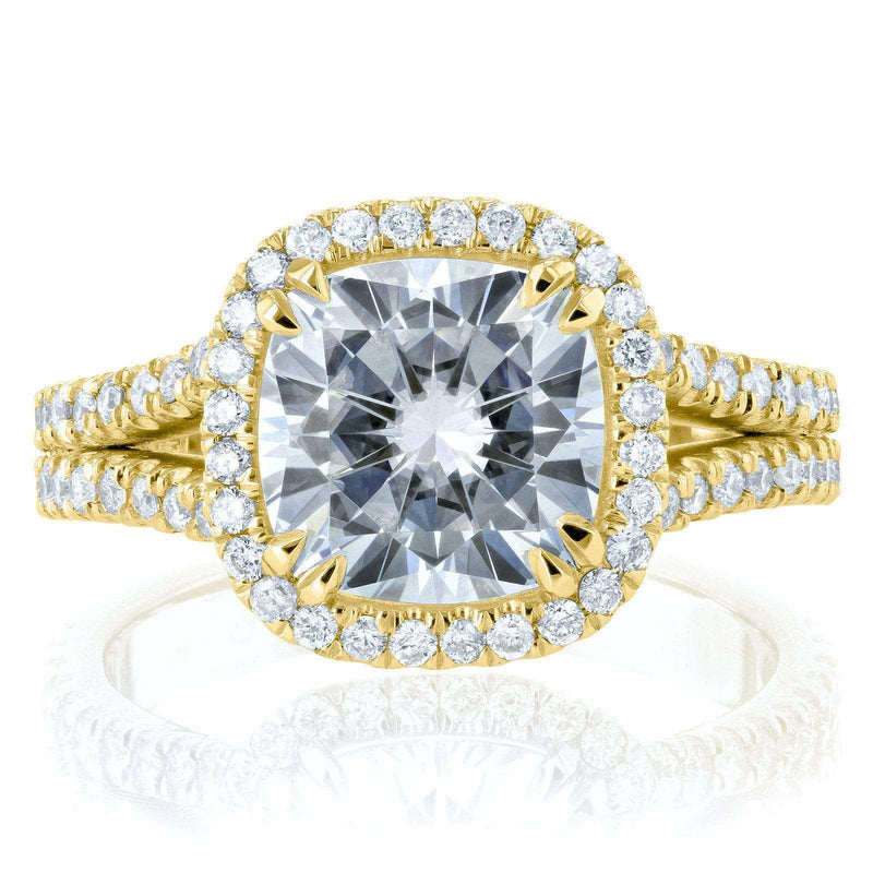 Kobelli Cushion F-G Moissanite with Diamond Split Shank Halo Engagement Ring 3 1/3 CTW 14k Yellow Gold