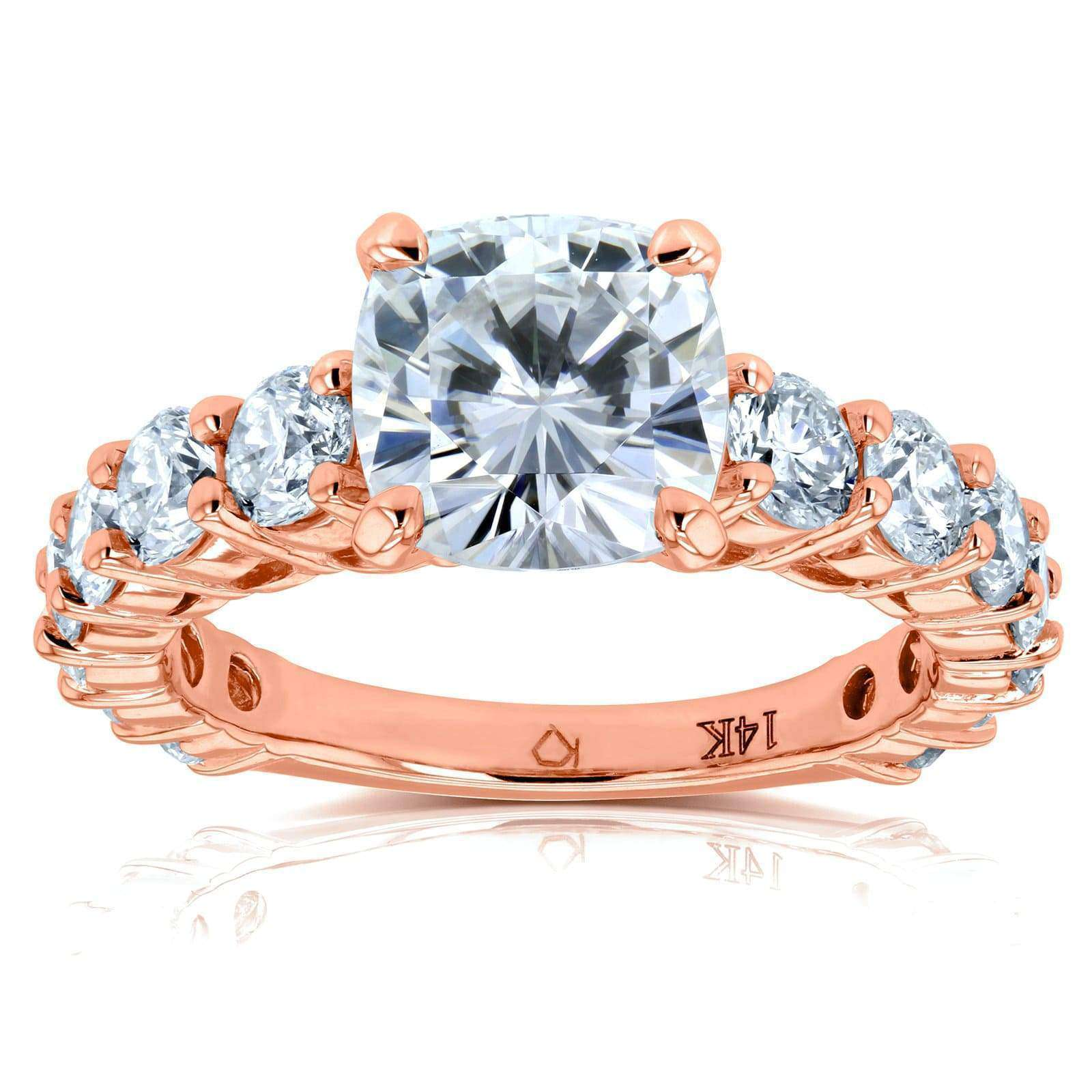 Promos Cushion Moissanite (FG) and Diamond Engagement Ring 3 2/5 CTW 14k Rose Gold - 4