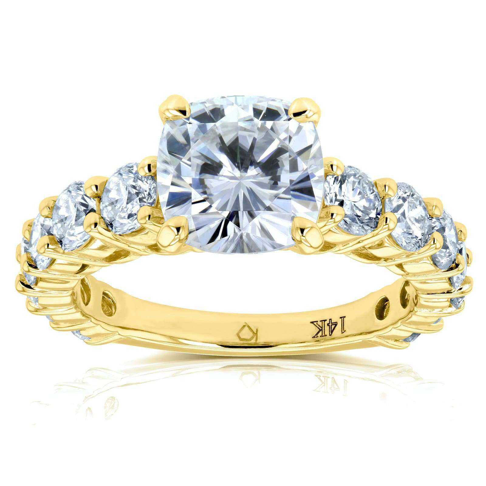 Coupons Cushion Moissanite (FG) and Diamond Engagement Ring 3 2/5 CTW 14k Yellow Gold - 7