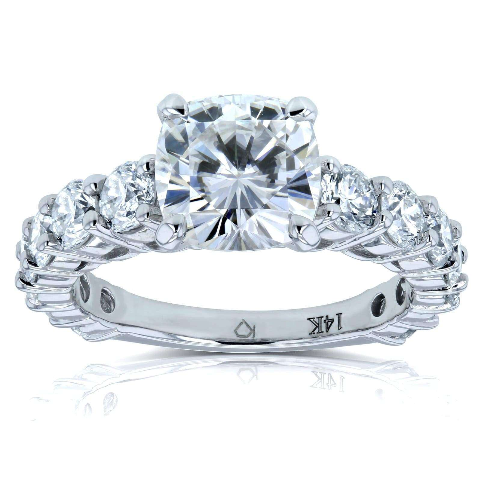 Promos Cushion Moissanite (FG) and Diamond Engagement Ring 3 2/5 CTW 14k White Gold - 6.5