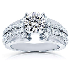 Kobelli Moissanite (FG) and Diamond Split Shank Engagement Ring 1 1/2 TCW in 14k White Gold