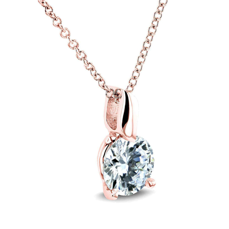 Kobelli Round Moissanite (F-G) Solitaire Pendant and Chain 4/5 Carat (6mm) in 14k Gold