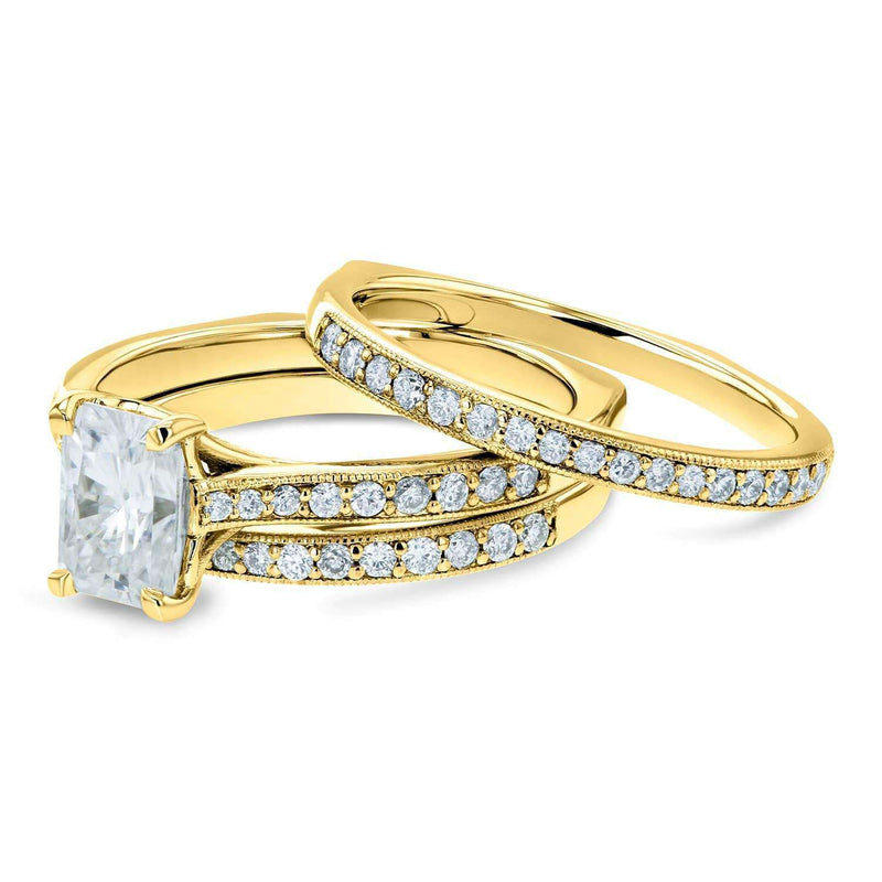 Kobelli Radiant Moissanite F-G and Diamond Square Shank Trellis 3-Piece Bridal Rings Set 1 4/5 TCW 14k Yellow Gold