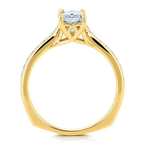 Kobelli Radiant Moissanite (FG) and Diamond Vintage Trellis Engagement Ring 1 2/5 CTW 14k Yellow Gold
