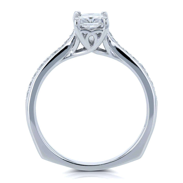 Kobelli Radiant Moissanite (FG) and Diamond Vintage Trellis Engagement Ring 1 2/5 CTW 14k White Gold