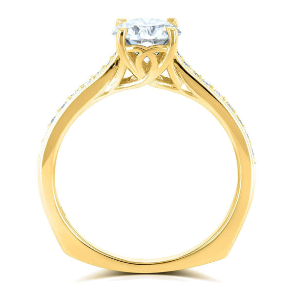 Kobelli Round Moissanite (FG) and Diamond Vintage Trellis Engagement Ring 1 1/5 CTW 14k Yellow Gold