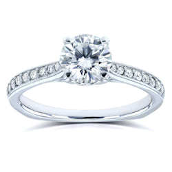 Kobelli Round Moissanite (FG) and Diamond Vintage Trellis Engagement Ring 1 1/5 CTW 14k White Gold