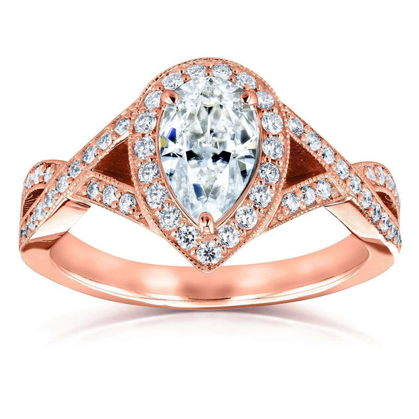 Kobelli Pear Moissanite and Diamond Halo Crossover Engagement Ring  1 1/3 CTW 14k Rose Gold (FG/VS, GH/I)