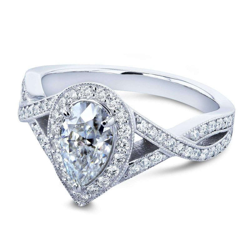 Kobelli Pear Moissanite and Diamond Halo Crossover Engagement Ring  1 1/3 CTW 14k White Gold (FG/VS, GH/I)